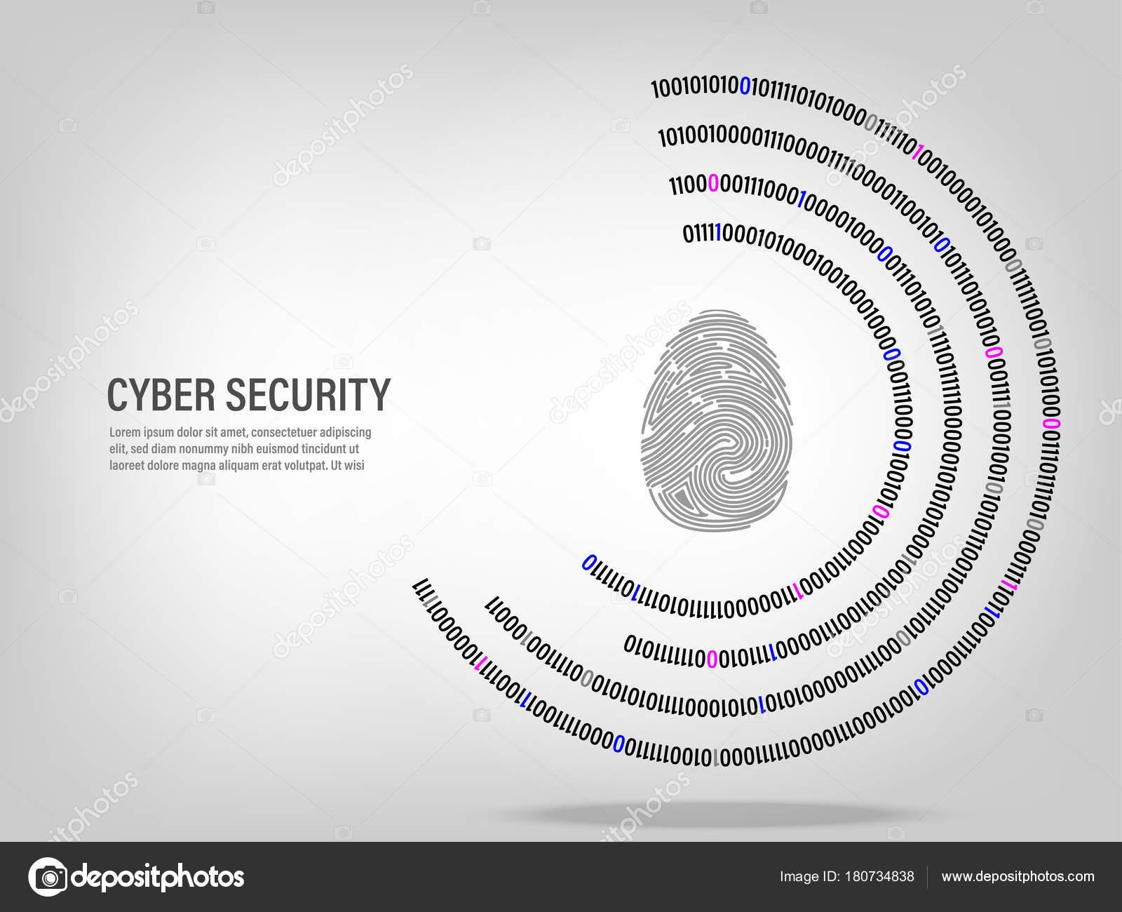 Cyber Security Concept Fingerprint Digital Binary Code
