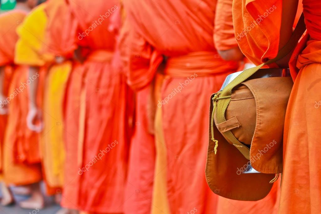 Buddhist monks with bowl
