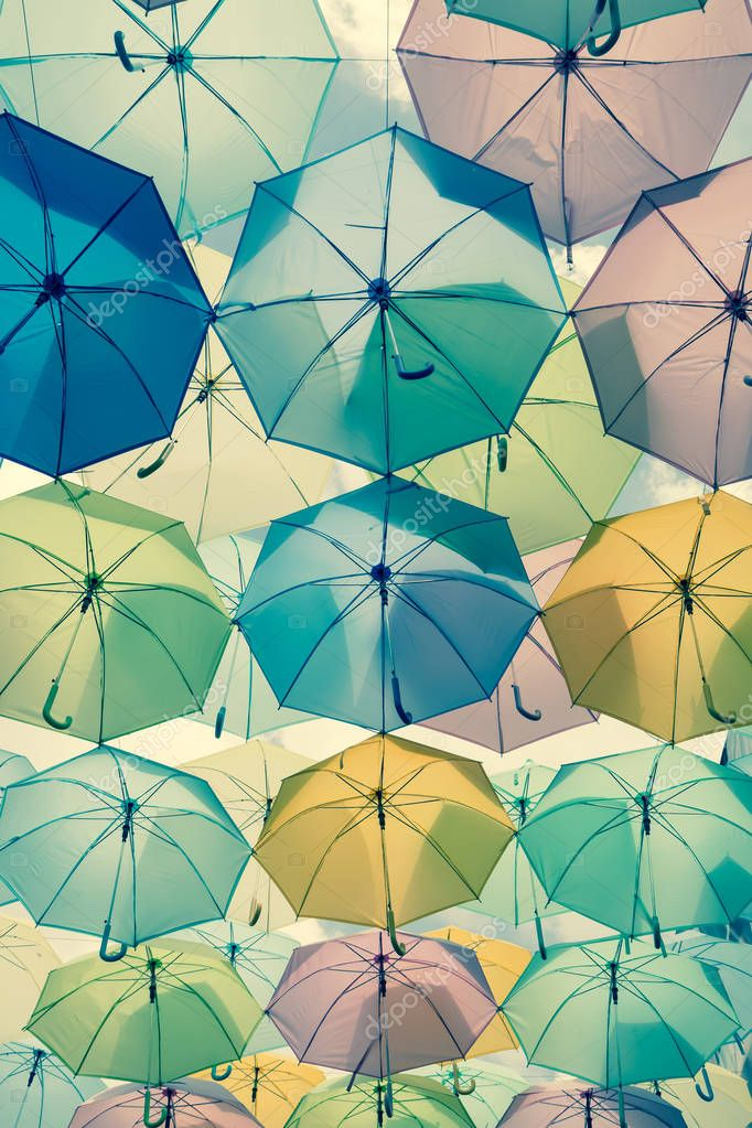 colorful umbrellas under sky