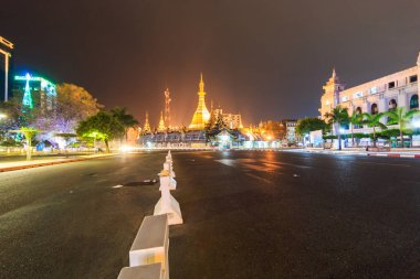 cityscape of Myanmar city at nigh
