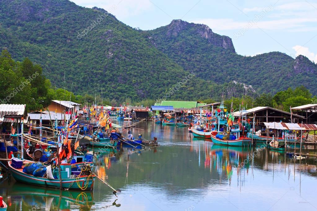 Fishing village in mountains