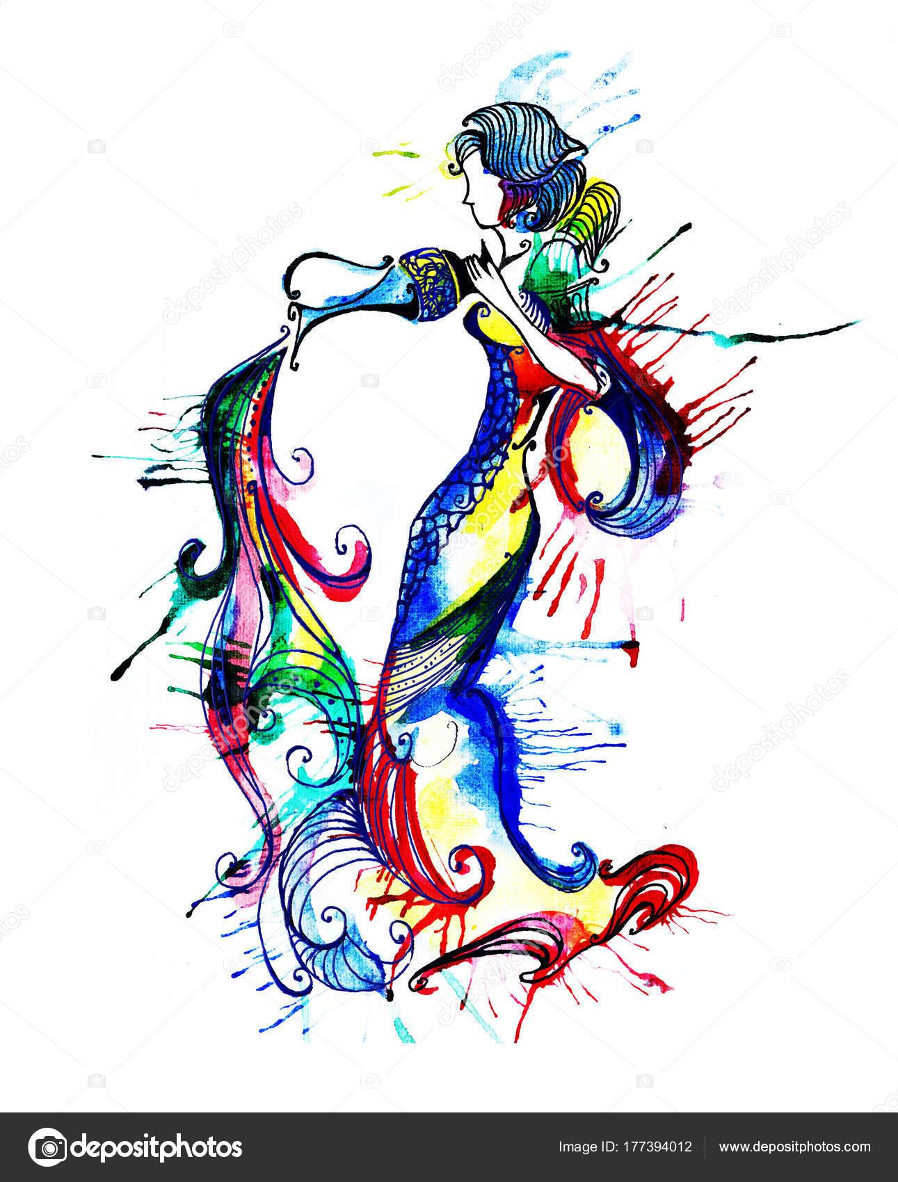 Disegno Acquario Segno Zodiacale.Illustrazione Acquario Zodiaco Illustrazione Dello