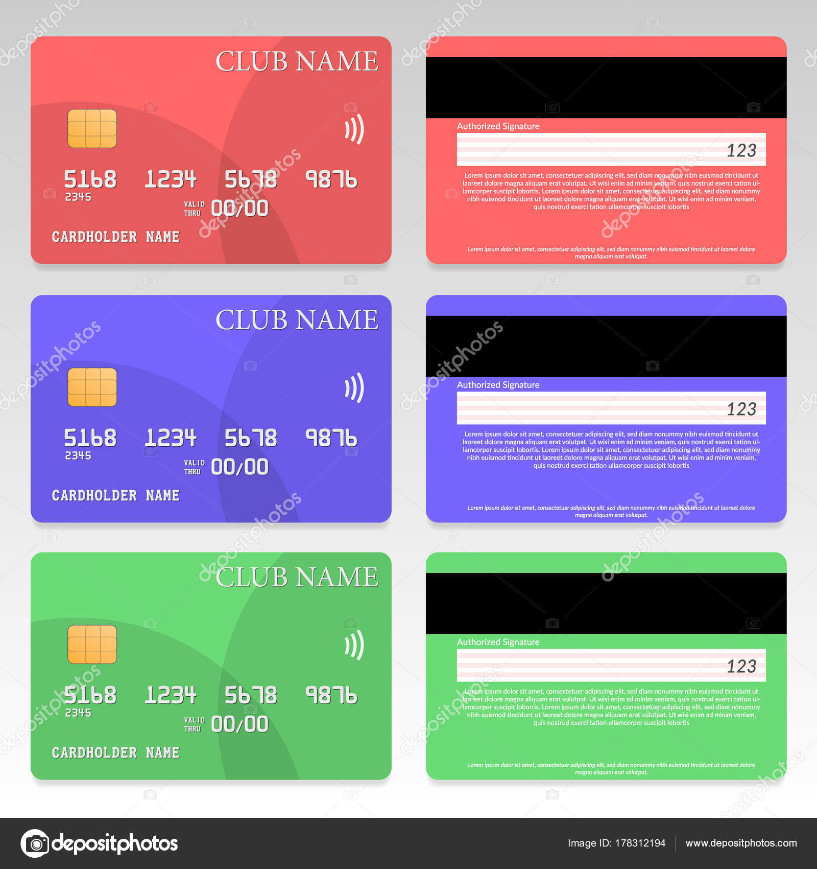credit card template set great flat design vector eps file stock