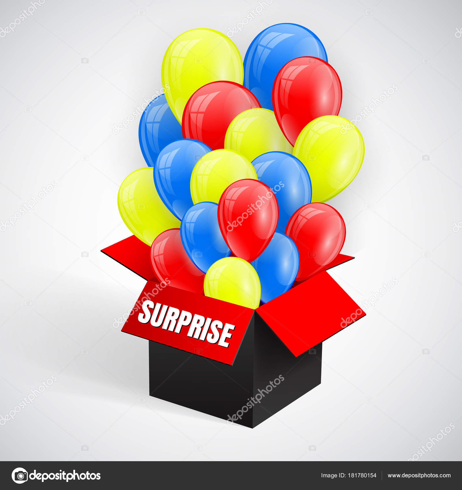Surprise Poster With Balloons Bunch Flying From Open Red Box Vector
