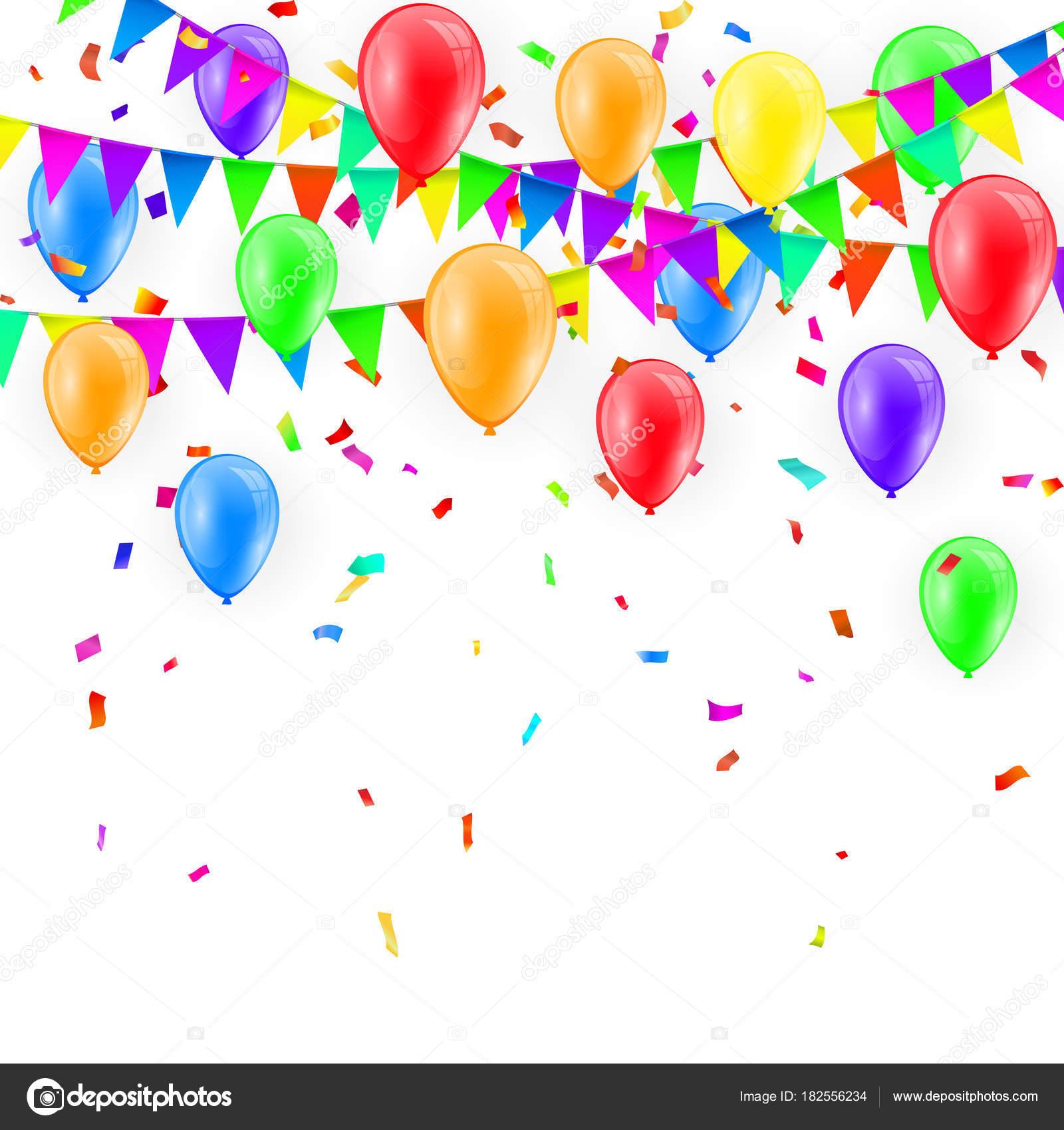 Sfondo festa con palloncini e bandiere vettoriale - Immagine con palloncini ...