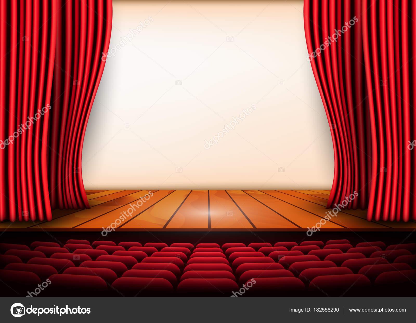 theatrale scne met rode gordijnen en houten vloer voorraad vectorillustratie stockvector