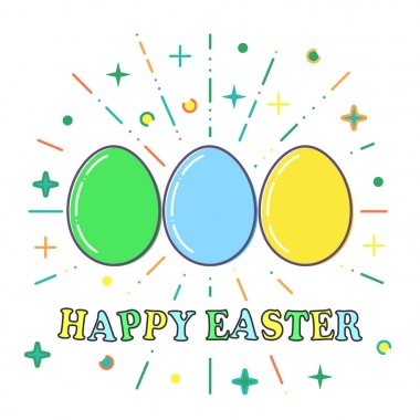 Happy Easter, Flat blue, green and yellow easter eggs vector. icon