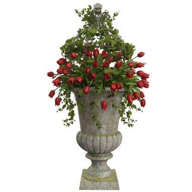 Red tulips flowers in vase
