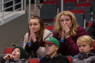 RIGA, LATVIA. 14th November 2019. Fans of team Dinamo Riga, supports their team at tribune, during Kontinental Hockey League (KHL) 2019/2020 season game ,  Dinamo Riga vs. Moscow Spartak