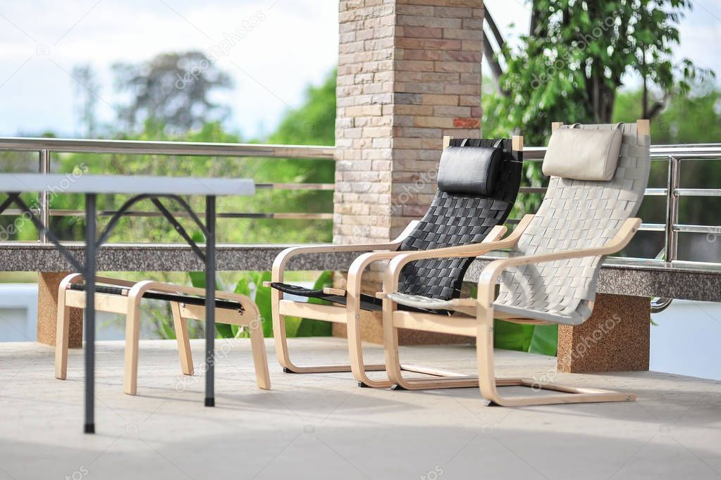 Outdoor seating area with Rattan sofa