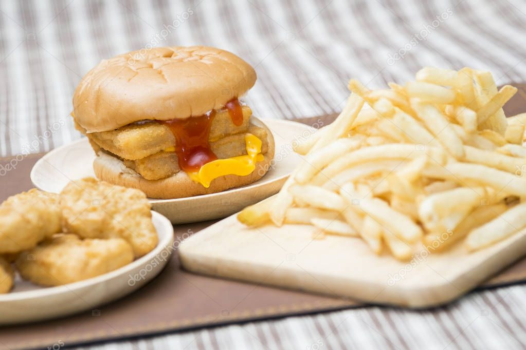 Big hamburger, dubble cheese fish  nuggets and French fries
