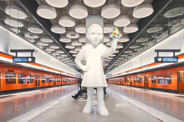 Helsinki, Finland - December 19 2017; Helsinki metro, Tapiola station with Kim Simonsson's sculpture