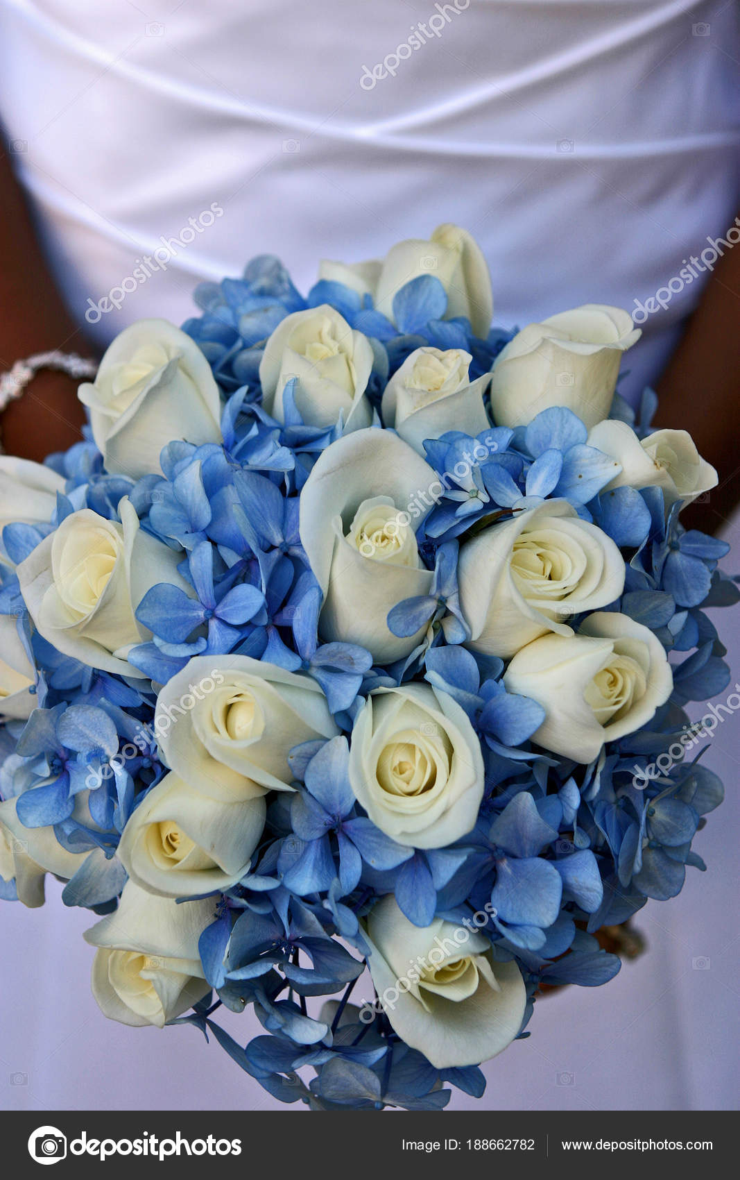 Brides blue and white bouquet stock photo beckerphotos 188662782 brides wedding flowers blue flowers and white roses photo by beckerphotos izmirmasajfo