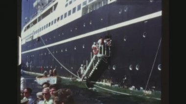 JAMAICA, MAY 1971. Three Shot Sequence. Passengers Embarking On Lifeboats From The Russian Cruise Liner Taras Shevchenko For A Tour On Shore.