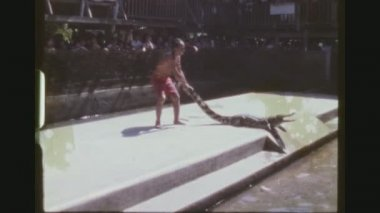 THAILAND, BANGKOK, JANUARY 1984. Two Shot Sequence. Older Crokodile Trainer Pulls A Young Alligator By Its Tail Out Of The Water And Pokes A Big One With A Stick At The Samutprakarn Crocodile Show.