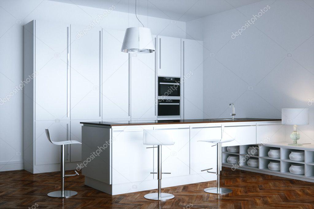 Nuevos muebles de cocina contemporánea blanco en sala ...