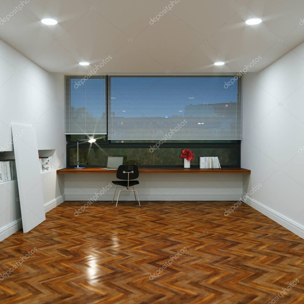 kantoor in het nieuwe interieur met houten vloer en de tafel en stockfoto
