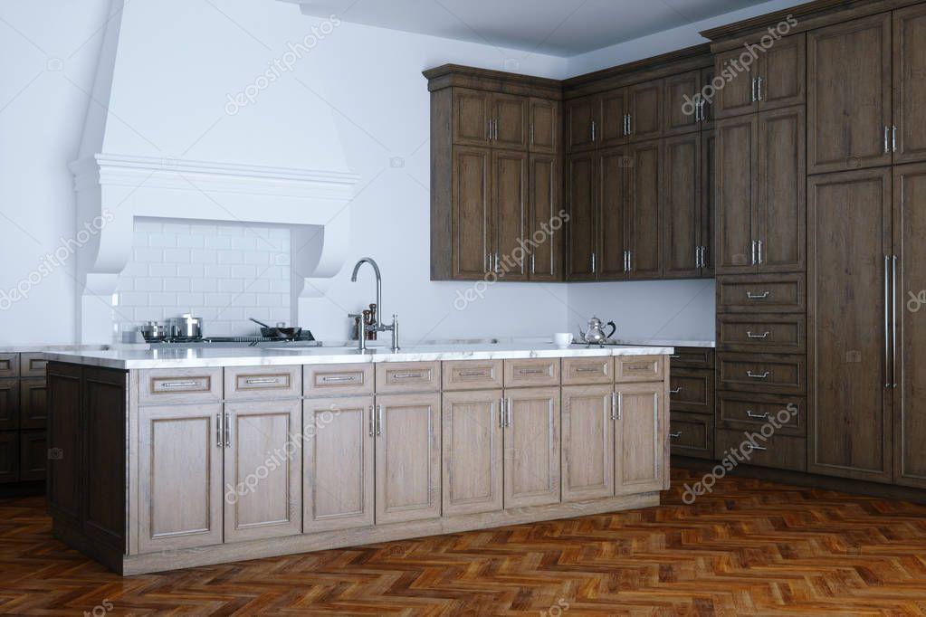 Klassiek Wit Interieur : Klassieke houten keuken hulp en wit interieur met houten parque