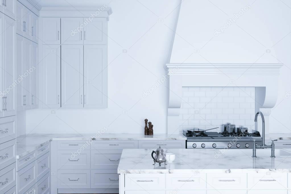 Klassiek Wit Interieur : Klassieke witte keuken hulp en wit interieur met houten parket