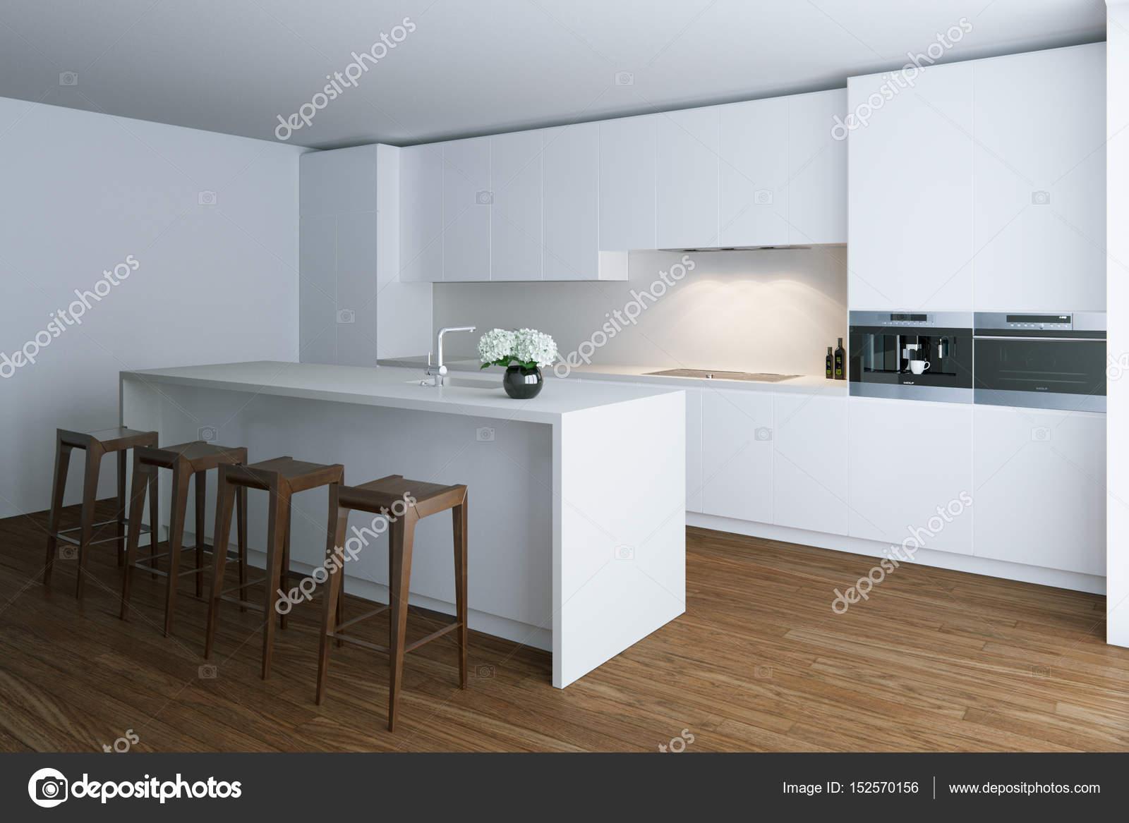 3d render white luxury kitchen in white room — Stock Photo © viz ...