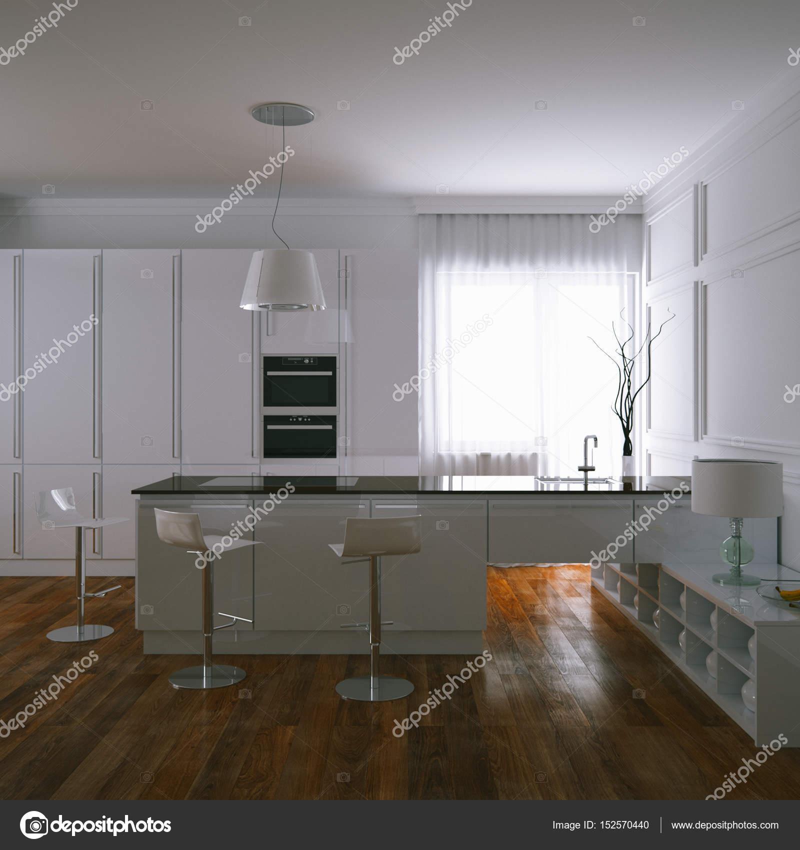 3D rendu contemporain cuisine blanche et sol en parquet en ...