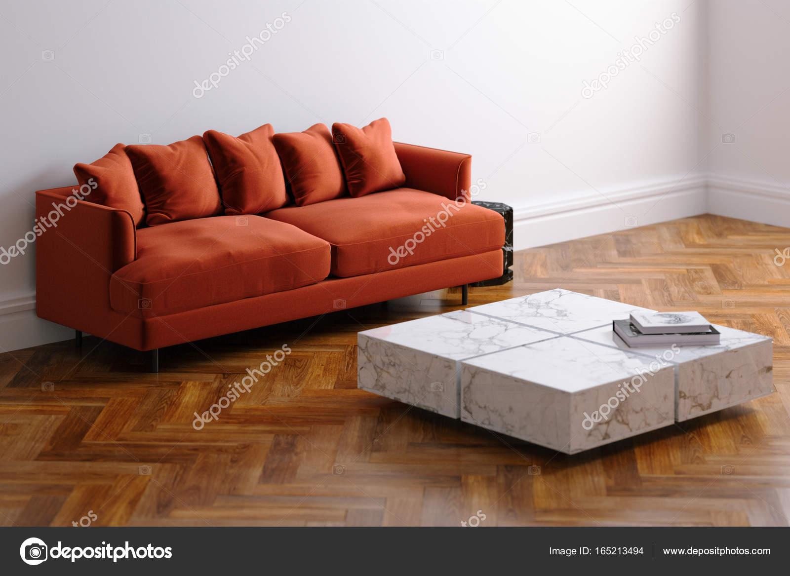 Nieuw wit woonkamer interieur met fluweel rode minimalistische