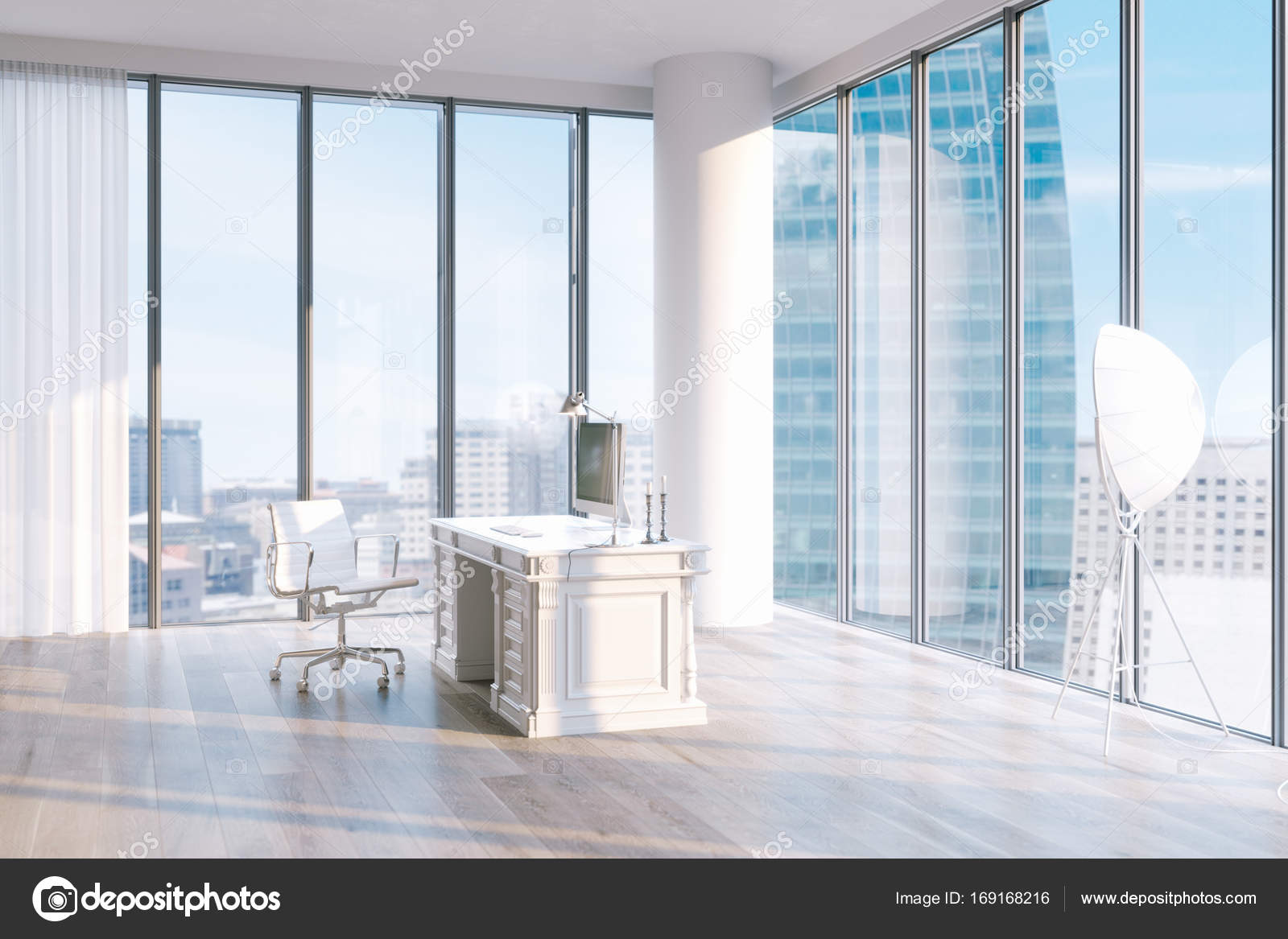 Minimalistische kantoor interieur een penthouse met grote ramen