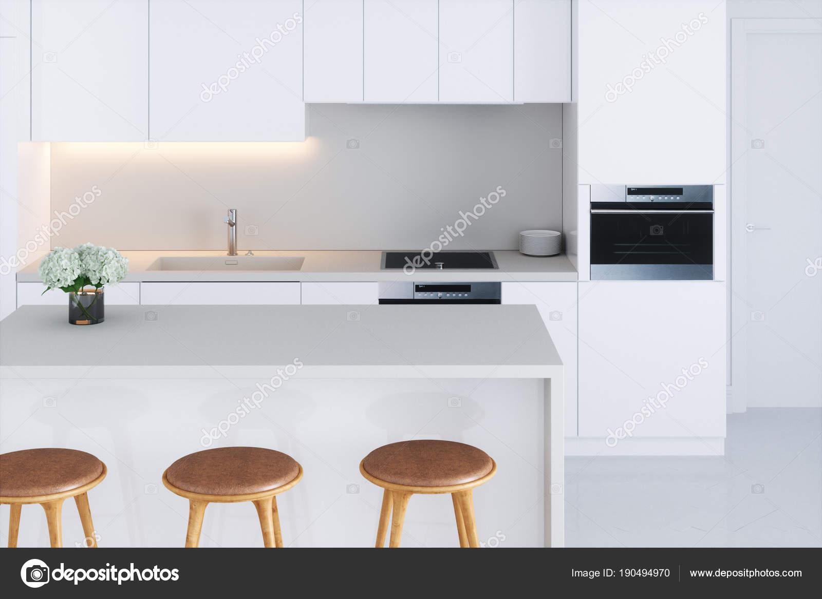 Witte Minimalistische Woonkeuken : Closeup witte minimalistische keuken d render u stockfoto viz