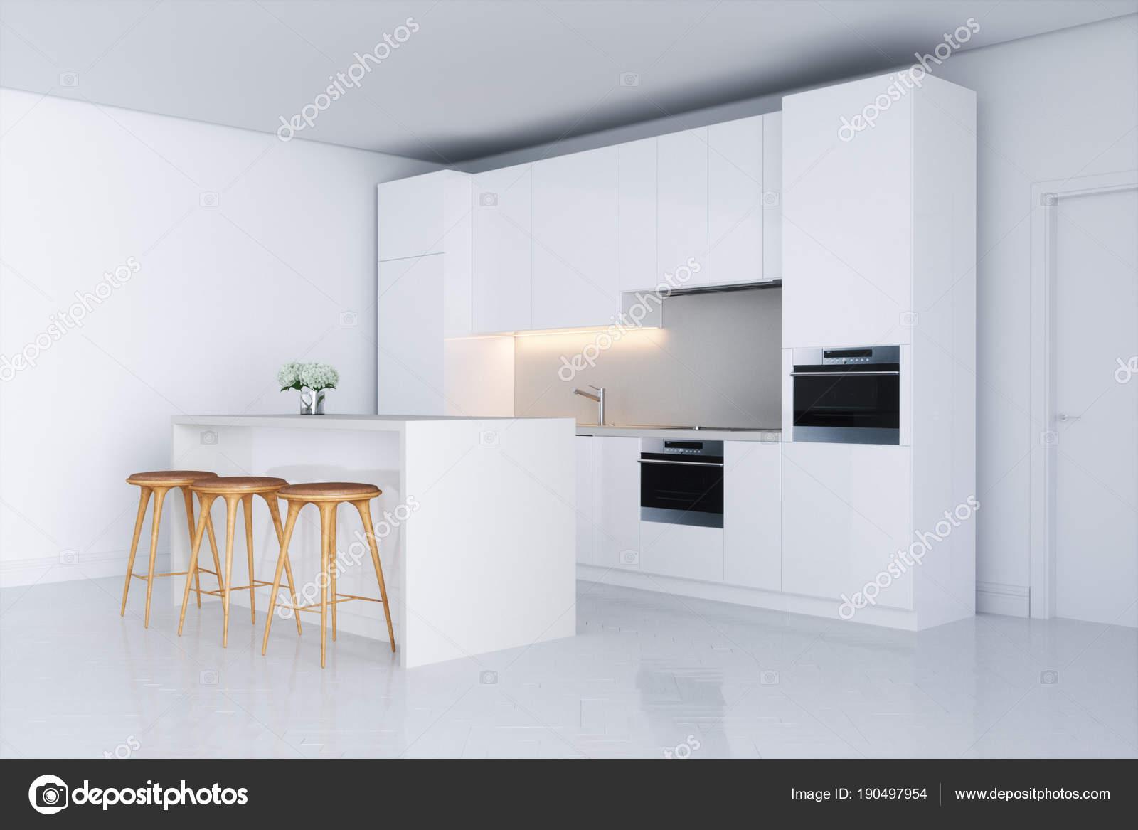 Witte keuken in nieuwe interieur met barkruk 3d render u2014 stockfoto