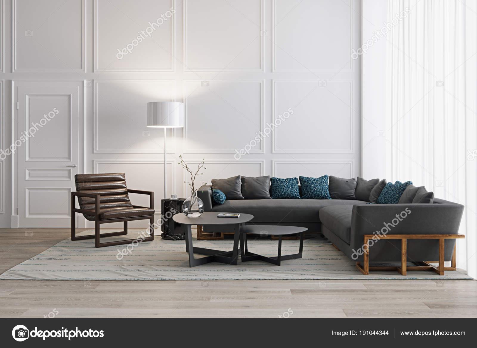 Weiße Wohnzimmer im skandinavischen Stil mit modernen Möbeln ...