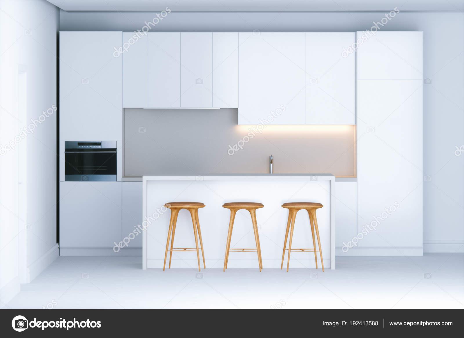 Witte Minimalistische Woonkeuken : Moderne minimalistische keuken in nieuwe witte interieur d rende