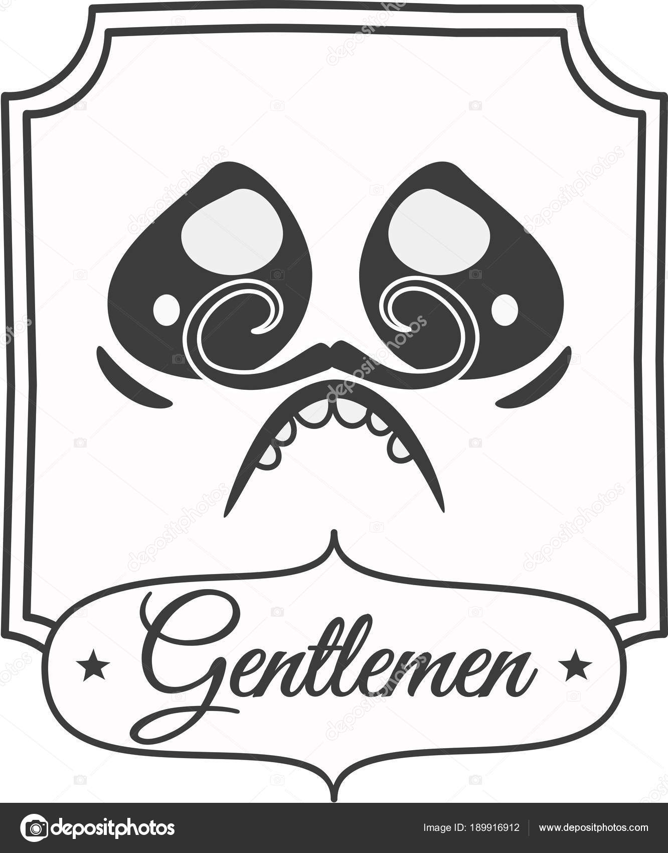 A Black And White Bathroom Sign With Newspaper Style Gentleman Face Caricature Moustache Having Urge To Urinate EPS 10 Vector Illustration
