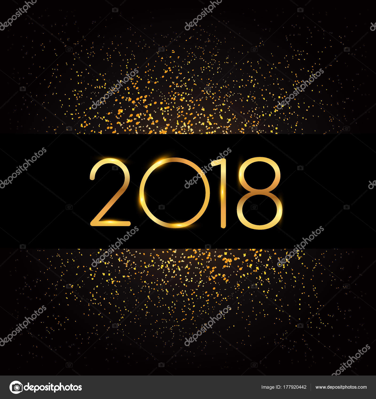 happy new year 2018 greeting card glitter black background golden stock vector