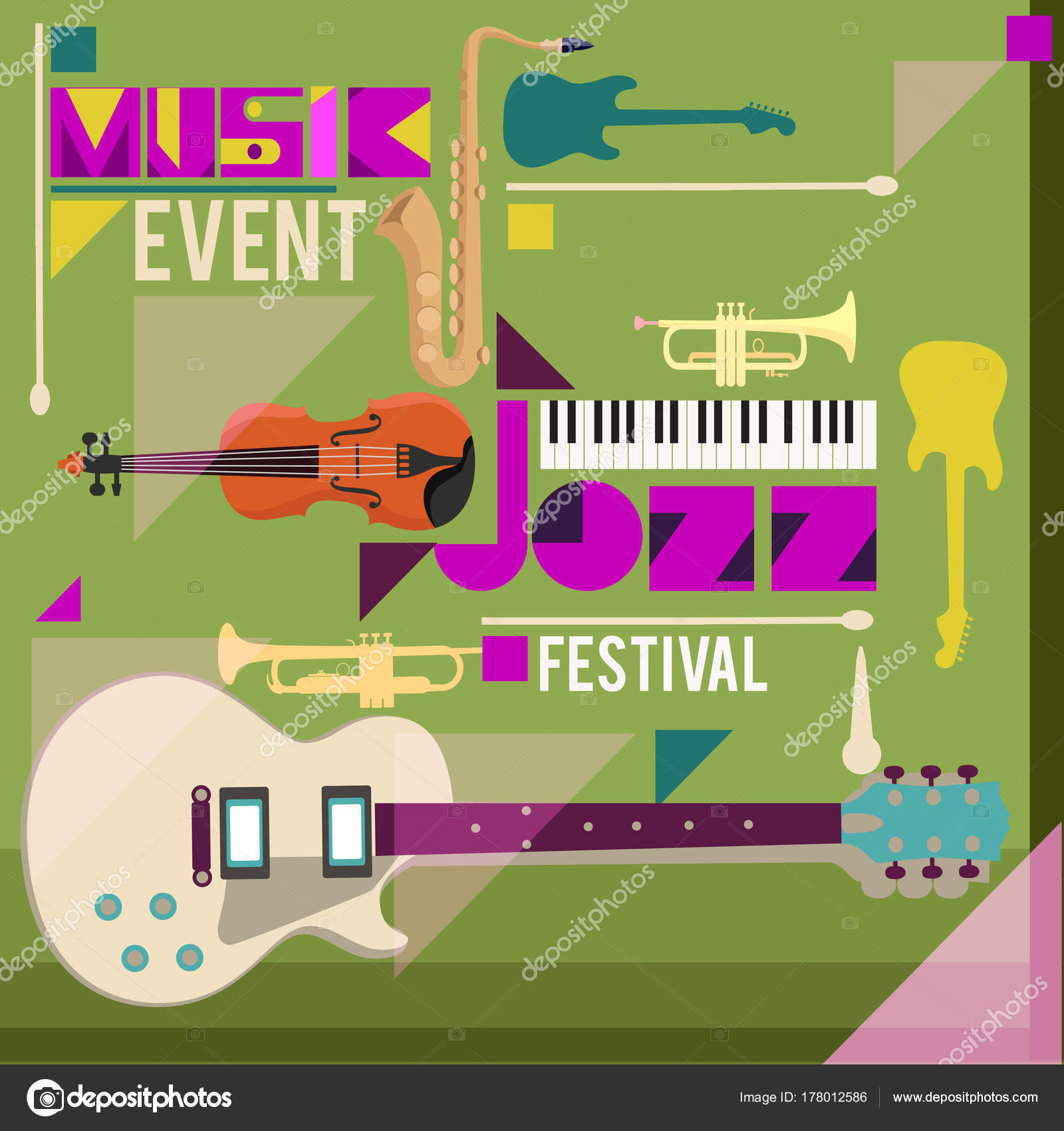 Jazz Music Festival Poster Background Template Musical Instruments