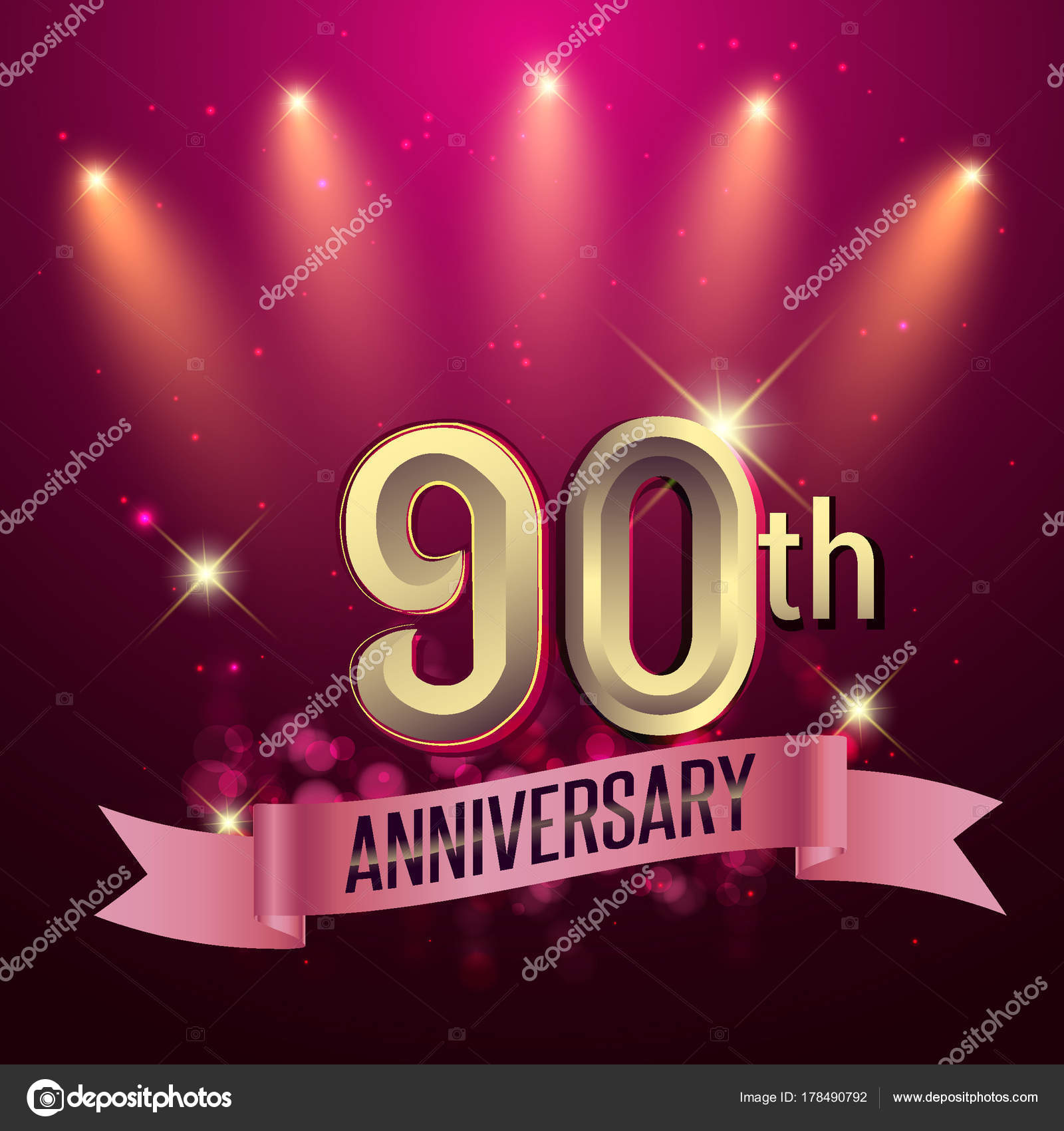 90Th Anniversary Party Poster Banner Invitation Background Glowing ...