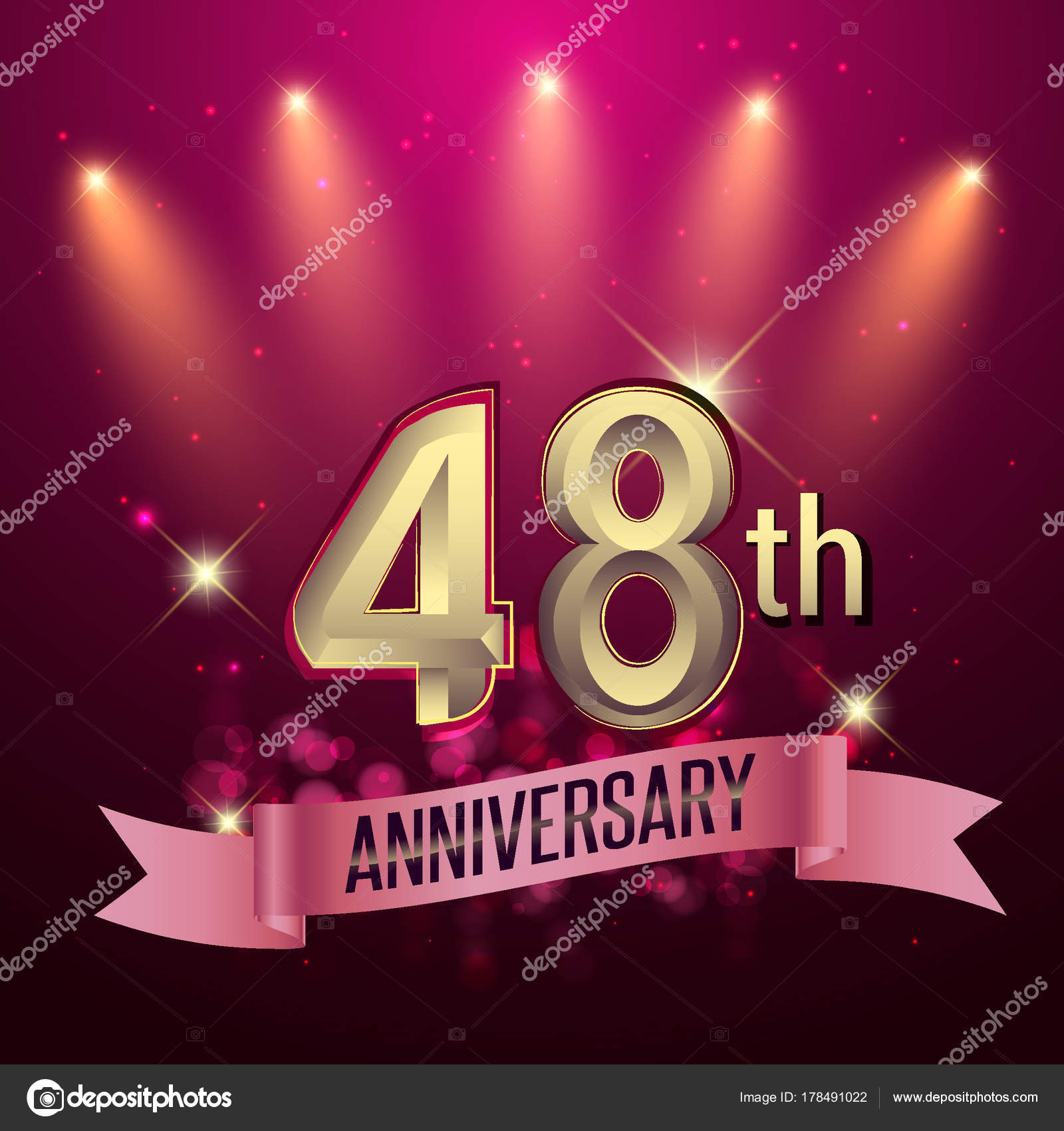 48e Verjaardag Partij Poster Spandoek Uitnodiging Achtergrond