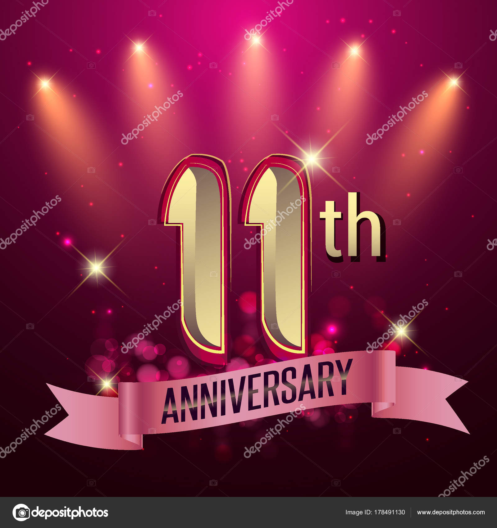 11th anniversary party poster banner invitation background glowing