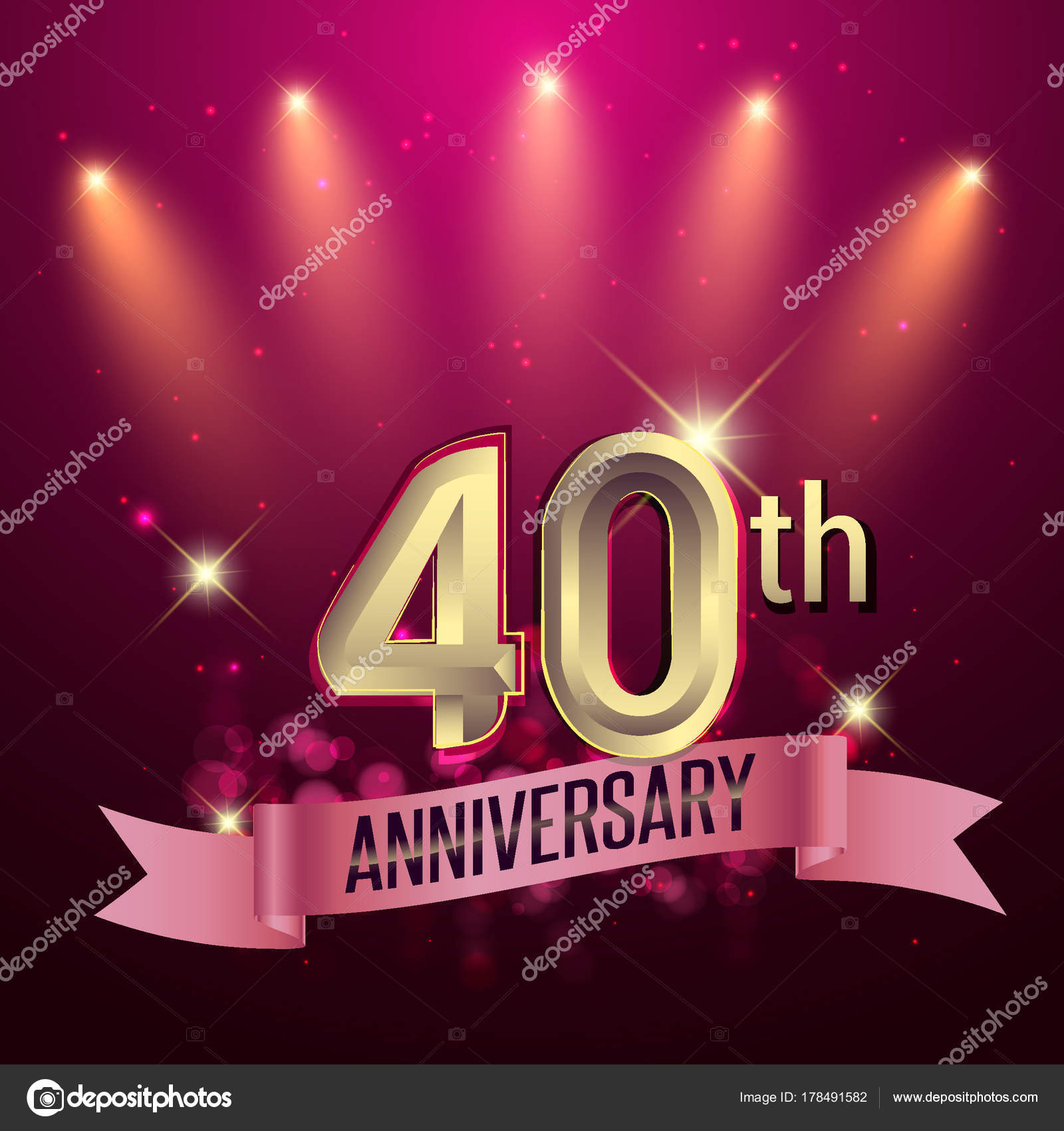 40Th Anniversary Party Poster Banner Invitation Background Glowing ...
