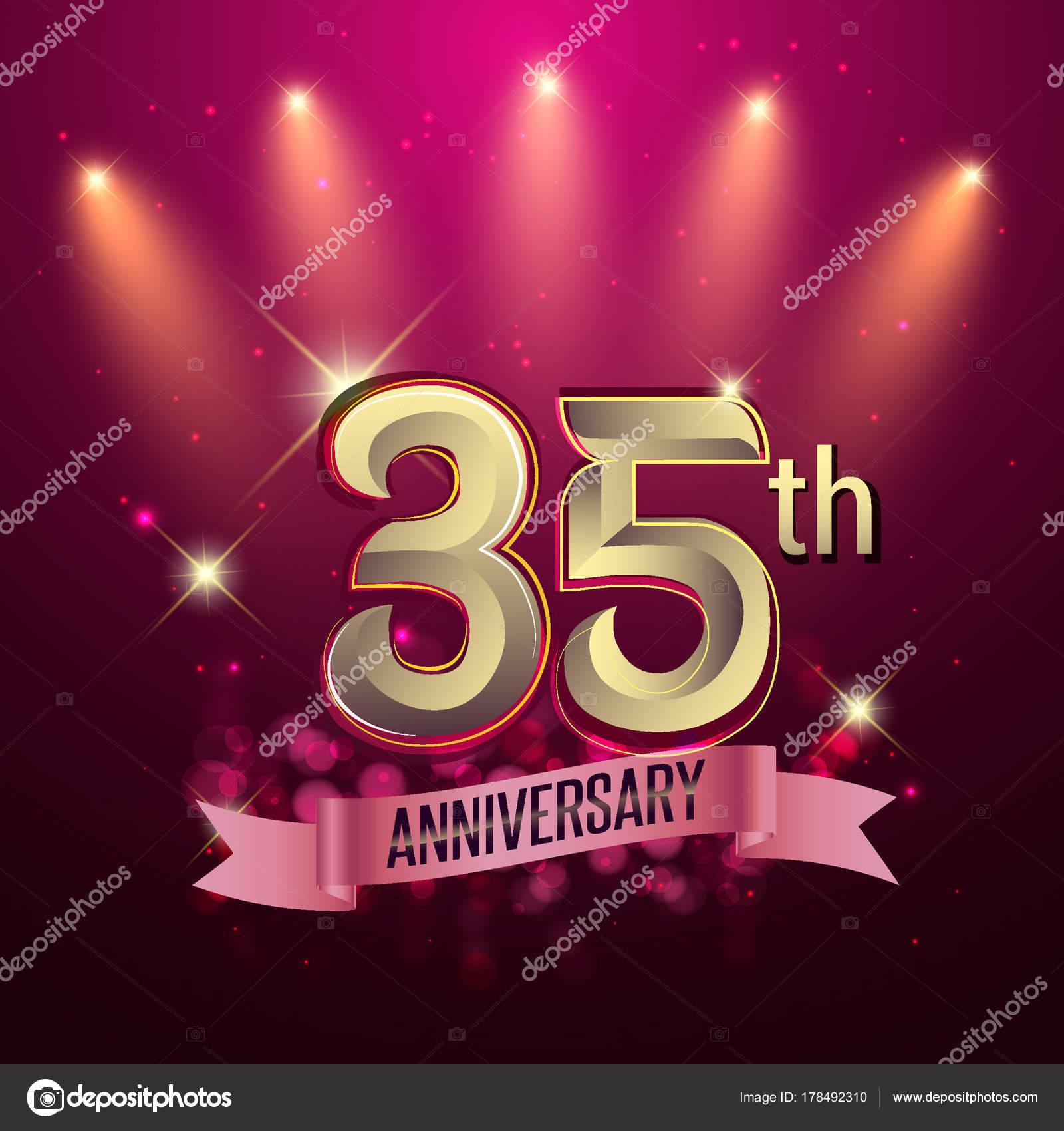 35e Verjaardag Partij Poster Spandoek Uitnodiging Achtergrond