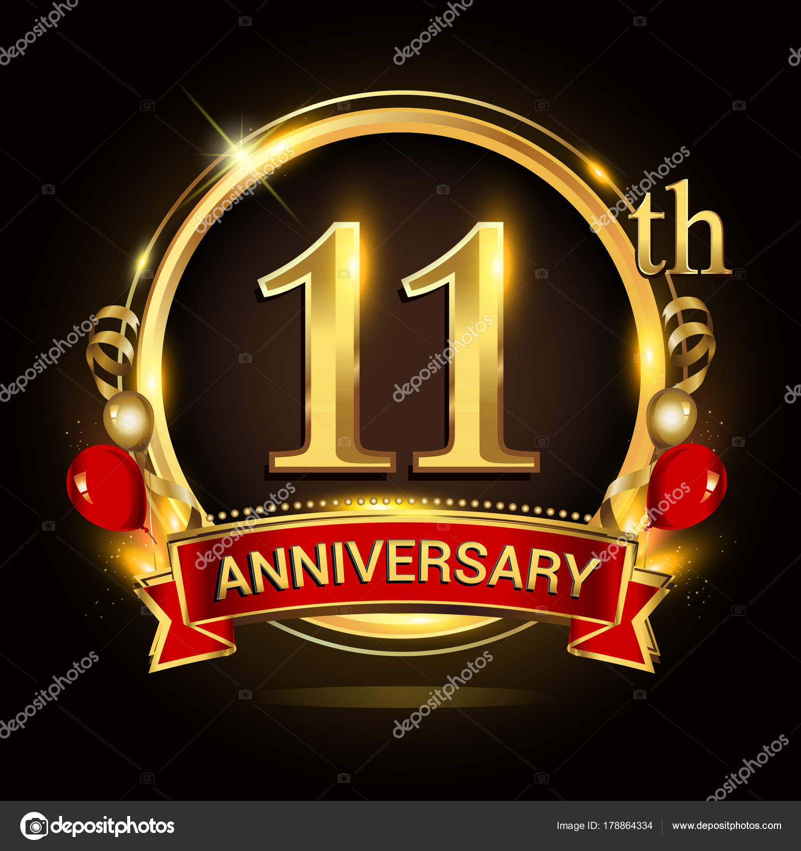 11th anniversary logo golden ring balloons red ribbon vector design