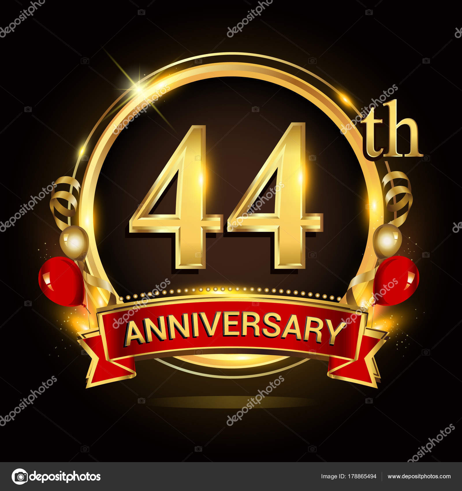 44th anniversary logo golden ring balloons red ribbon vector 44th anniversary logo golden ring balloons red ribbon vector design stock vector biocorpaavc Gallery