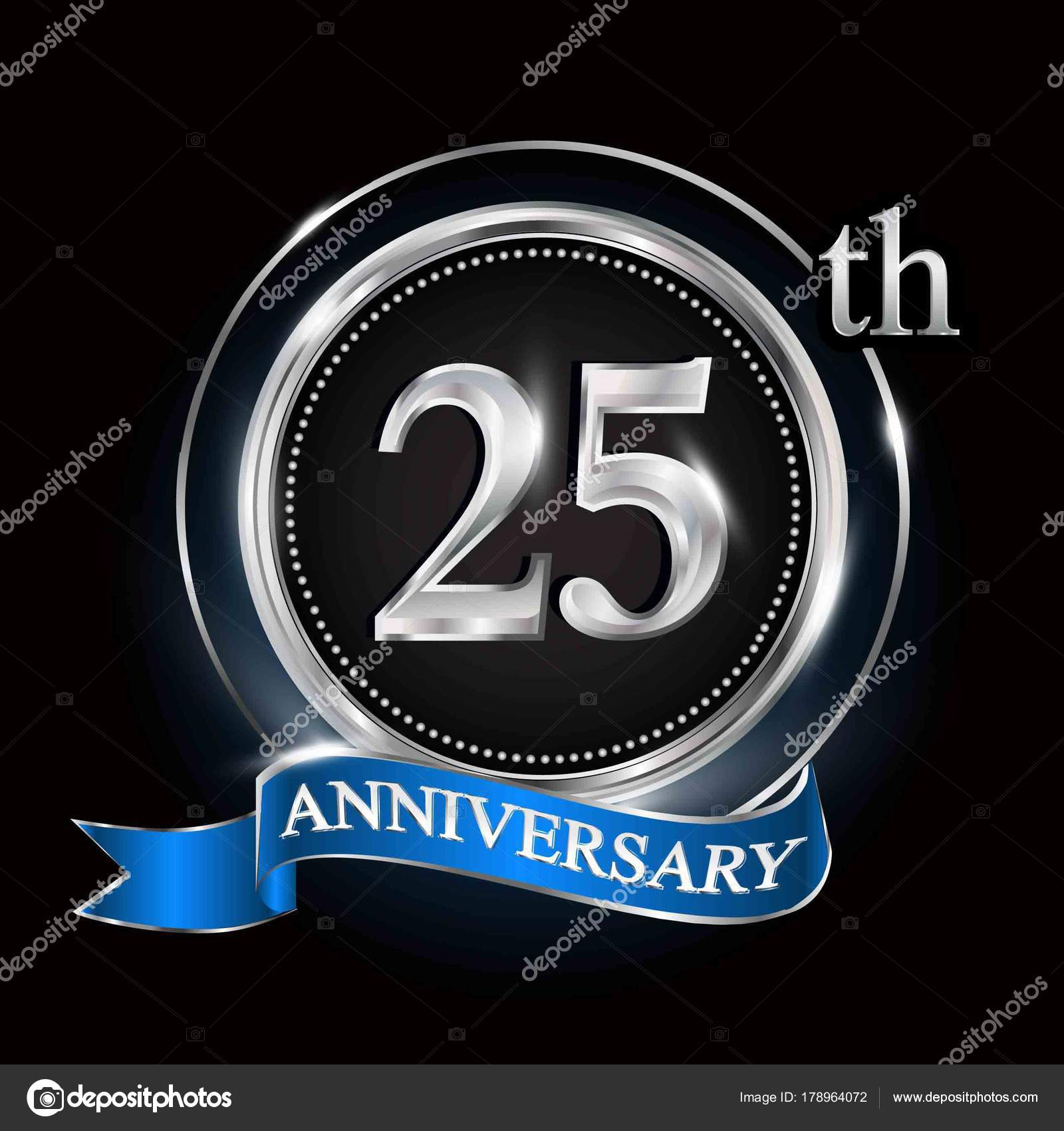 25th anniversary logo silver ring blue ribbon stock vector rh depositphotos com 25th Anniversary Seal 25th Anniversary Quotes