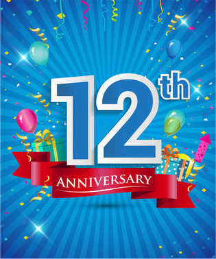 Celebrating 12 years Anniversary logo, with confetti and balloons, red ribbon, Colorful Vector design template elements for your invitation card, flyer, banner and poster