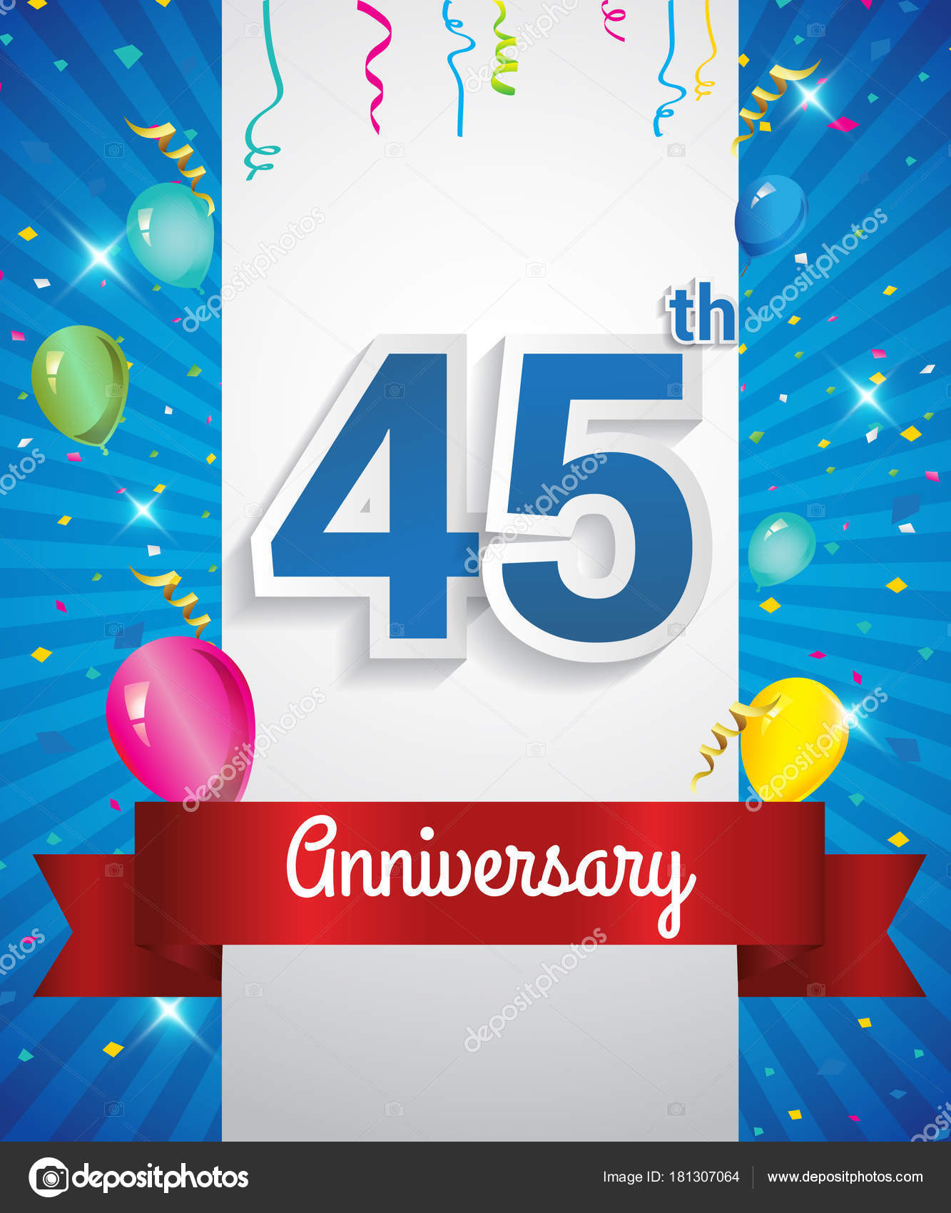 Celebrating 45Th Anniversary Logo Confetti Balloons Red Ribbon Colorful Vector Stock