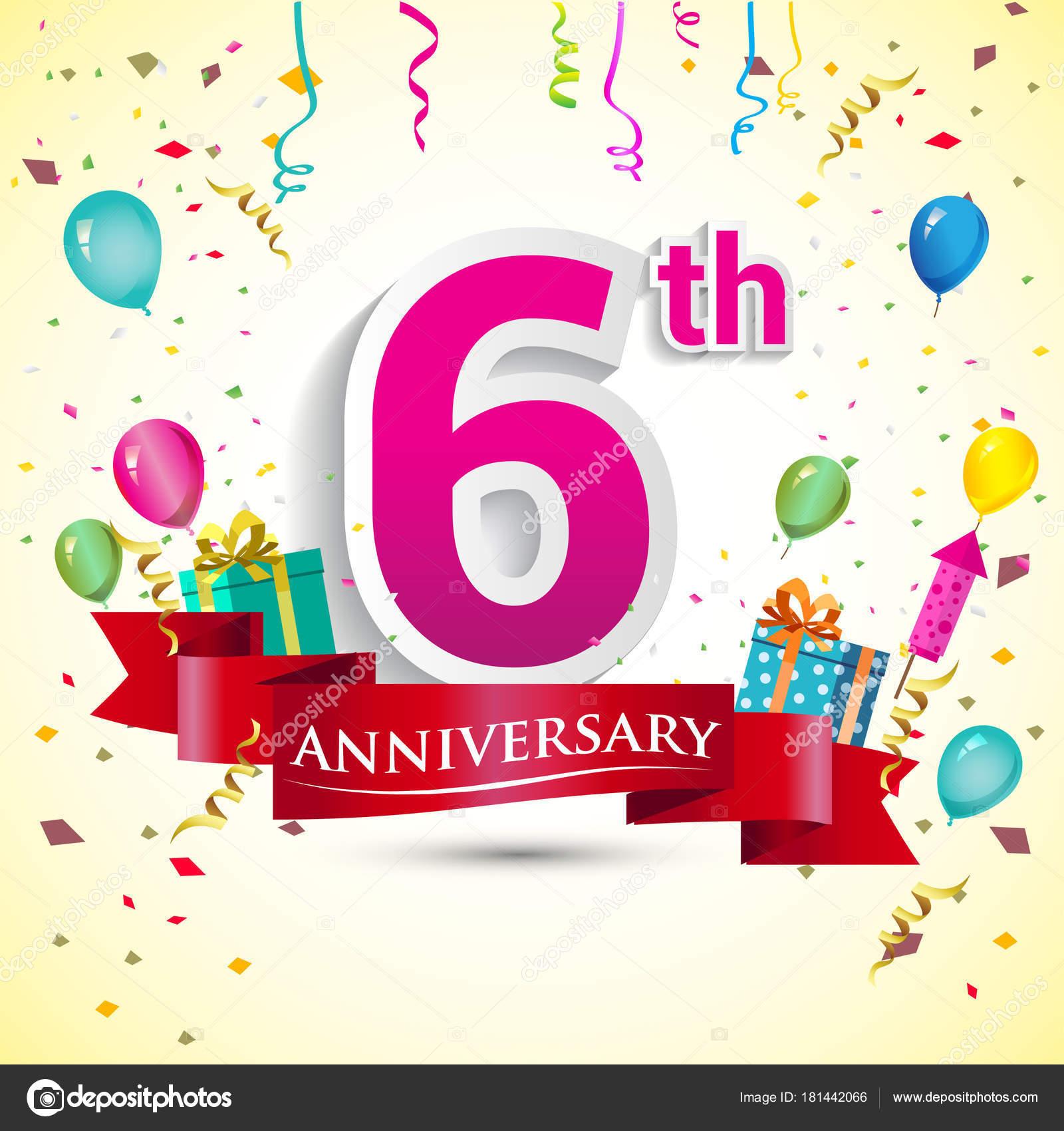 第六周年庆典设计 带礼品盒和气球 红丝带 丰富多彩的矢量模板元素为您的生日聚会 图库矢量图像 169