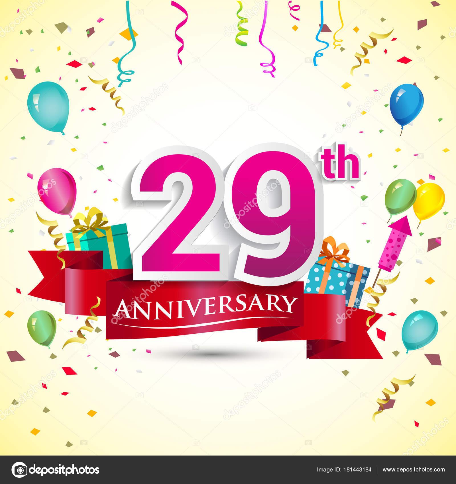 29Th Anniversary Celebration Design Gift Box Balloons Red Ribbon ...