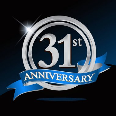 31 years anniversary logo with silver ring and blue ribbon, Vector design