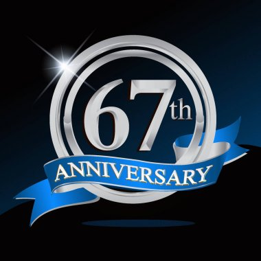 67 years anniversary logo with silver ring and blue ribbon, Vector design