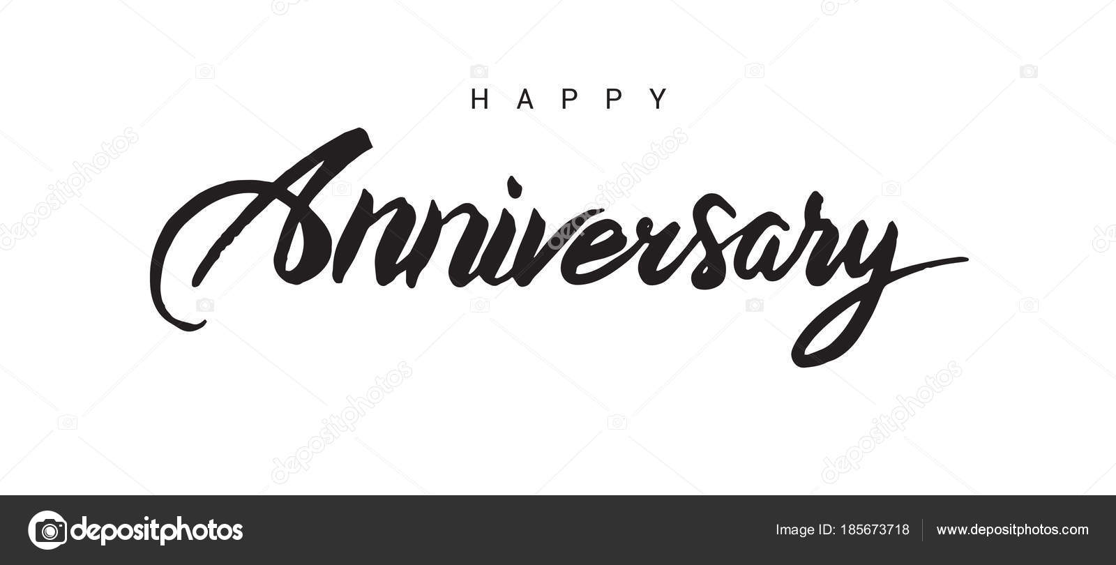 happy anniversary lettering text banner black color vector