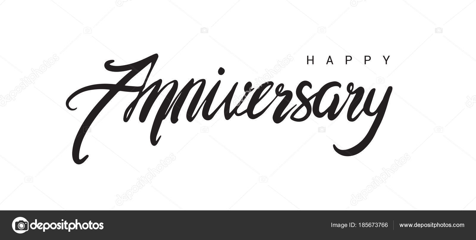 Banner Feliz Aniversario: Happy Anniversary Lettering Text Banner Black Color Vector